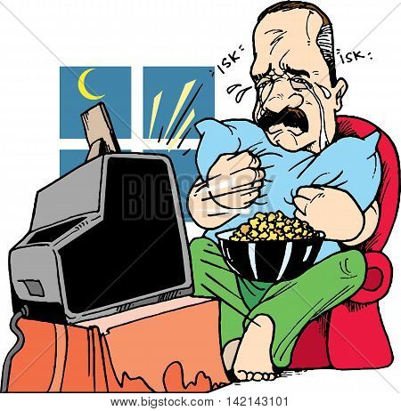 men cry while watching television alone with his popcorn, vector