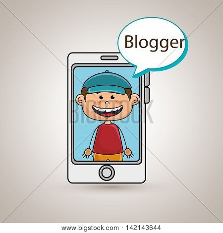 boy cellphone blogger web vector illustration graphic