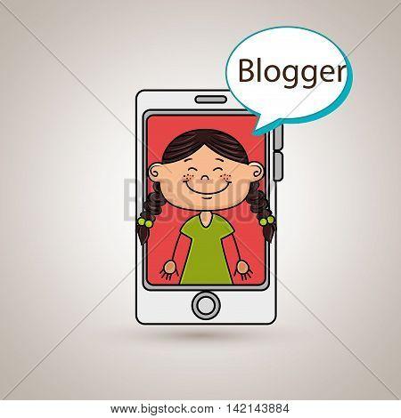 girl cellphone blogger web vector illustration graphic