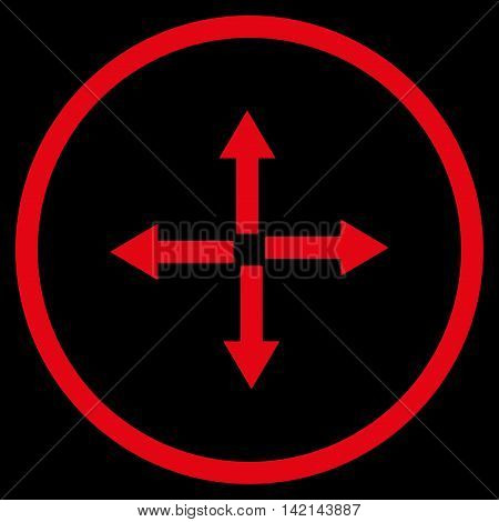 Expand Arrows vector icon. Style is flat rounded iconic symbol, expand arrows icon is drawn with red color on a black background.
