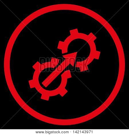 Gear Integration vector icon. Style is flat rounded iconic symbol, gear integration icon is drawn with red color on a black background.
