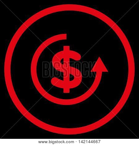 Refund vector icon. Style is flat rounded iconic symbol, refund icon is drawn with red color on a black background.
