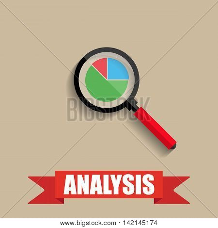 Business analysis. chart pie under the magnifying glass. vector illustration in flat style with shadow on brown background