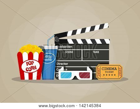 Retro movie set. Black clapperboard, box with popcorn, soda water glass, 3d glasses. ticket. vector illustration in flat style on brown background