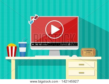 Online home cinema concept. desktop, computer display with running online video player, soda water in glass, popcorn and 3d stereo glasses, retro cinema ticket. vector illustration in flat style.
