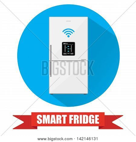 Smart refrigerator or fridge with lcd display connected to internet by wireless. fridge icon with long shadow. vector illustration in flat style