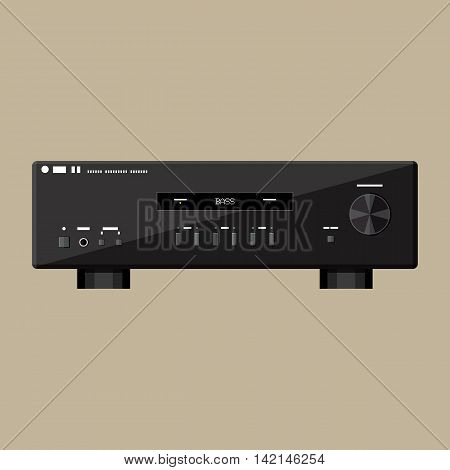 Home modern stereo sound amplifier in black. Vector Illustration in flat style