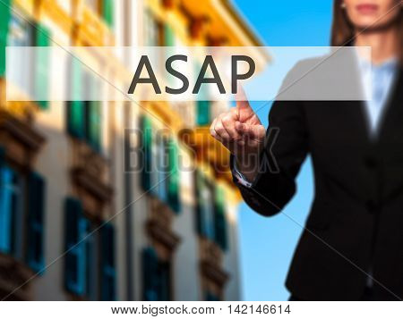 Asap - Isolated Female Hand Touching Or Pointing To Button