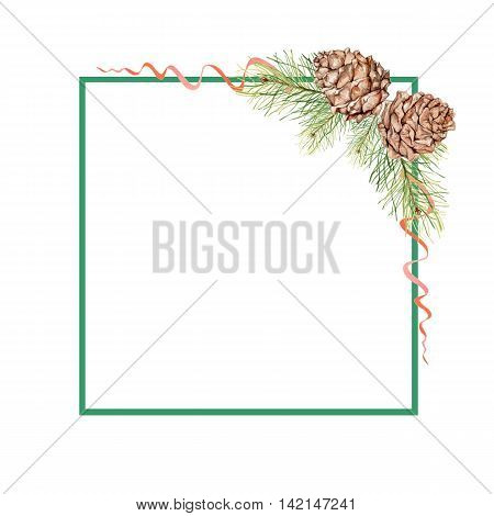 Square frame with pine cones, pine branches and red ribbons. Watercolor painting. Hand drawing. Decorative element for greeting new year and Christmas card, Invitation card