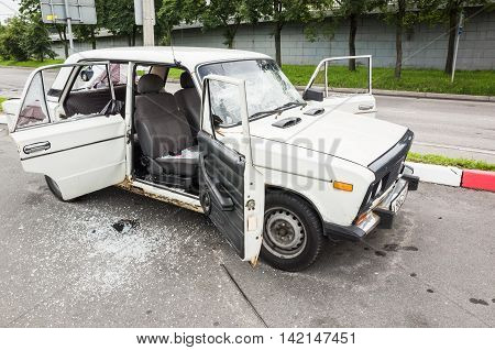 Crushed White Vaz-2106 Car, Closeup Photo