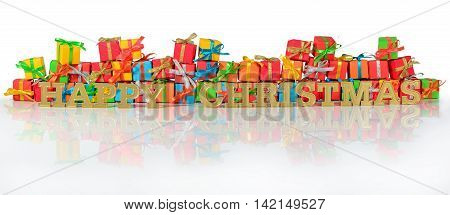 Happy Christmas Golden Text And Varicolored Gifts
