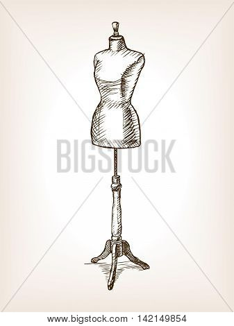 Sewing Mannequin sketch vector illustration. Old hand drawn engraving imitation.