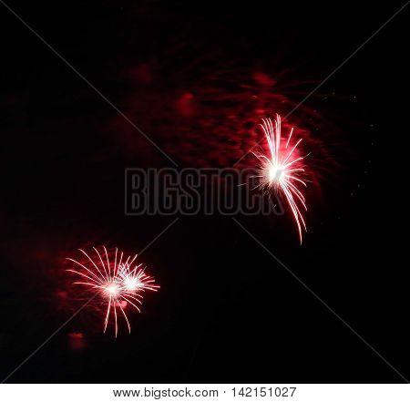 Big Fireworks In The Dark Night