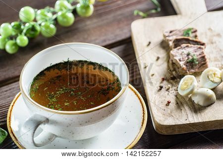 broth with egg
