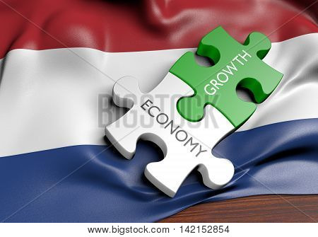 Netherlands economy and financial market growth concept, 3D rendering