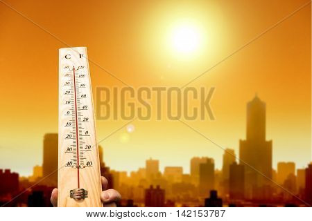 thermometer with hot temperature, hot summer weather