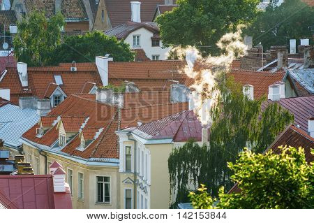 Closeup scene overlooking the courtyard and roofs of Old town in Tallinn Estonia