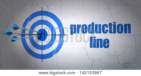 Success Manufacuring concept: arrows hitting the center of target, Blue Production Line on wall background, 3D rendering