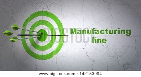 Success Manufacuring concept: arrows hitting the center of target, Green Manufacturing Line on wall background, 3D rendering