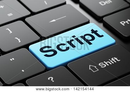 Programming concept: computer keyboard with word Script, selected focus on enter button background, 3D rendering