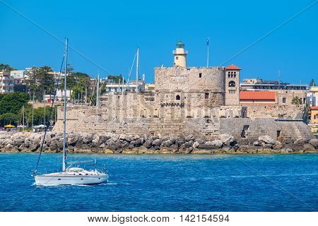 The old Agios Nikolaos fortress and Bell tower. Rhodes town Rhodes Dodecanese islands Greece