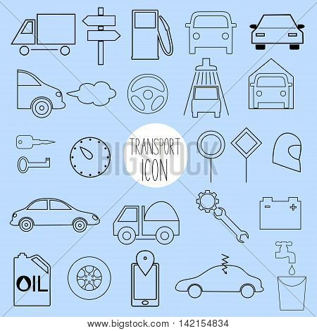 Different contour icons on the topic of car and vehicle