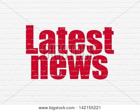 News concept: Painted red text Latest News on White Brick wall background