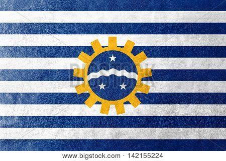 Flag Of Sao Jose Dos Campos, Sao Paulo, Brazil, Painted On Leather Texture