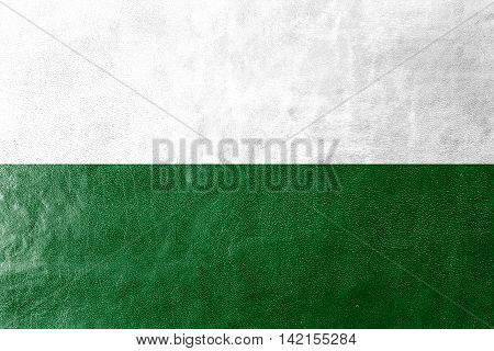 Flag Of Saxony, Germany, Painted On Leather Texture