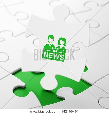 News concept: Anchorman on White puzzle pieces background, 3D rendering