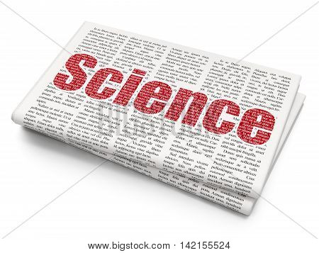 Science concept: Pixelated red text Science on Newspaper background, 3D rendering