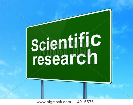 Science concept: Scientific Research on green road highway sign, clear blue sky background, 3D rendering