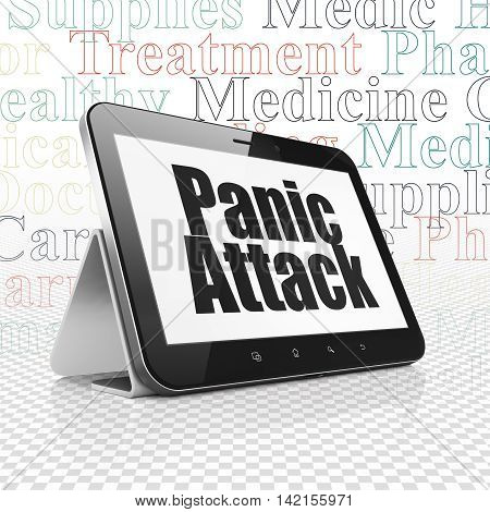 Healthcare concept: Tablet Computer with  black text Panic Attack on display,  Tag Cloud background, 3D rendering