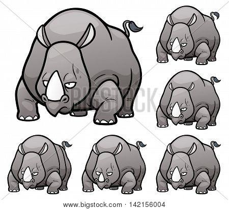 Vector Illustration of make the choice matching - Rhinos