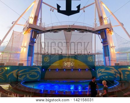 Barcelona Spain - September 06 2015: The cruise ship Allure of the Seas The Royal Caribbean International. The exterior view of the ship at evening