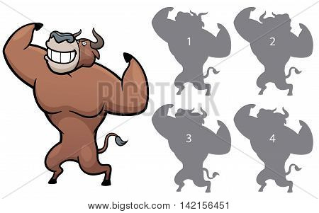 Vector Illustration of make the right choice and connect shadow matching - Bull