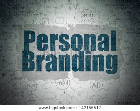 Advertising concept: Painted blue text Personal Branding on Digital Data Paper background with  Scheme Of Hand Drawn Marketing Icons