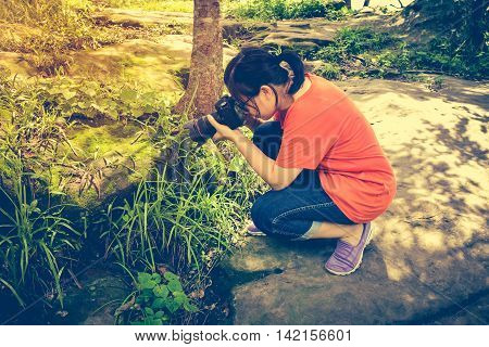 Asian Woman Taking With Moss Covered Rocks. Outdoor At The Daytime. Vintage Tone.