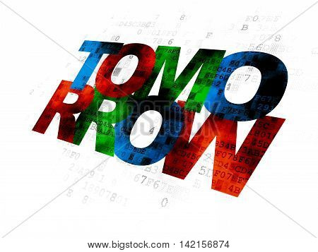 Time concept: Pixelated multicolor text Tomorrow on Digital background