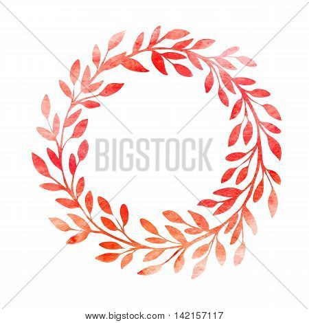 Watercolor autumn frame. Wreath made of hand drawn leaves. Endless texture can be used for printing onto fabric and paper or scrap booking. Vector illustration EPS10