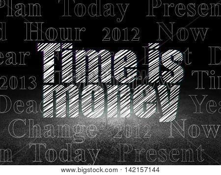 Timeline concept: Glowing text Time is Money in grunge dark room with Dirty Floor, black background with  Tag Cloud