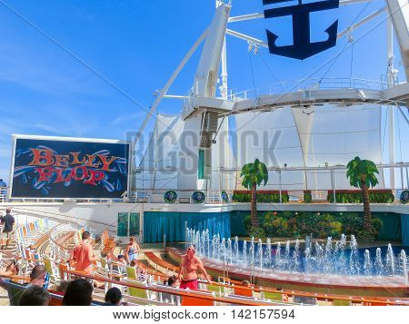 Barcelona Spain - September 12 2015: The cruise ship Allure of the Seas The Royal Caribbean International. The exterior view of the ship