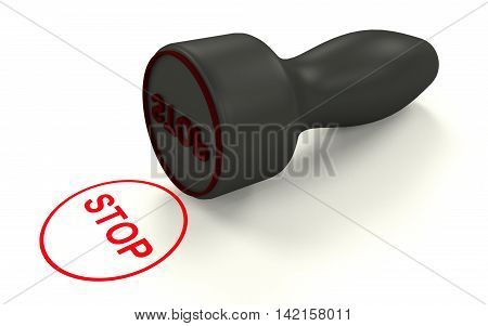 Stop stamp on the white background. 3D rendering.
