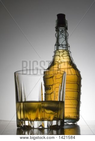 Cognac In Bottle And Glasses