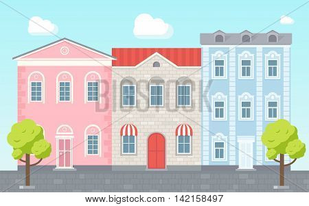 Vector illustration of street view. Three brick houses. Flat houses. Apartment houses. House with shop. Bright composition of street.