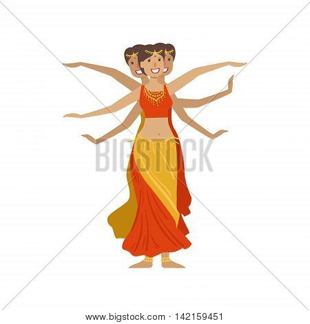 Women Performing 1000 Arms Indian Dance Country Cultural Symbol Illustration. Simplified Cartoon Style Drawing Isolated On White Background