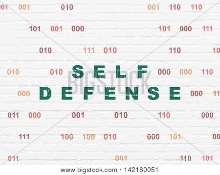 Protection concept: Painted green text Self Defense on White Brick wall background with Binary Code