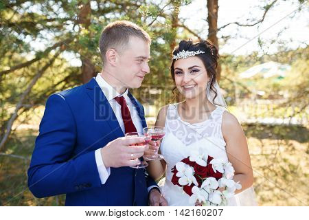 Wedding couple clinking glasses at the open air wedding banquet