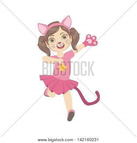 Girl Wearing Cat Animal Costume Simple Design Illustration In Cute Fun Cartoon Style Isolated On White Background