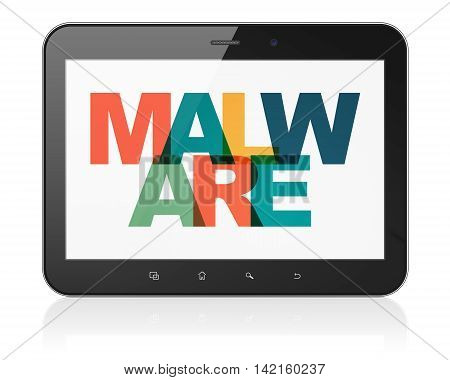 Safety concept: Tablet Computer with Painted multicolor text Malware on display, 3D rendering